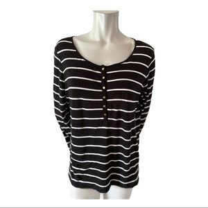 Jones New York Black and White Striped Tshirt XL